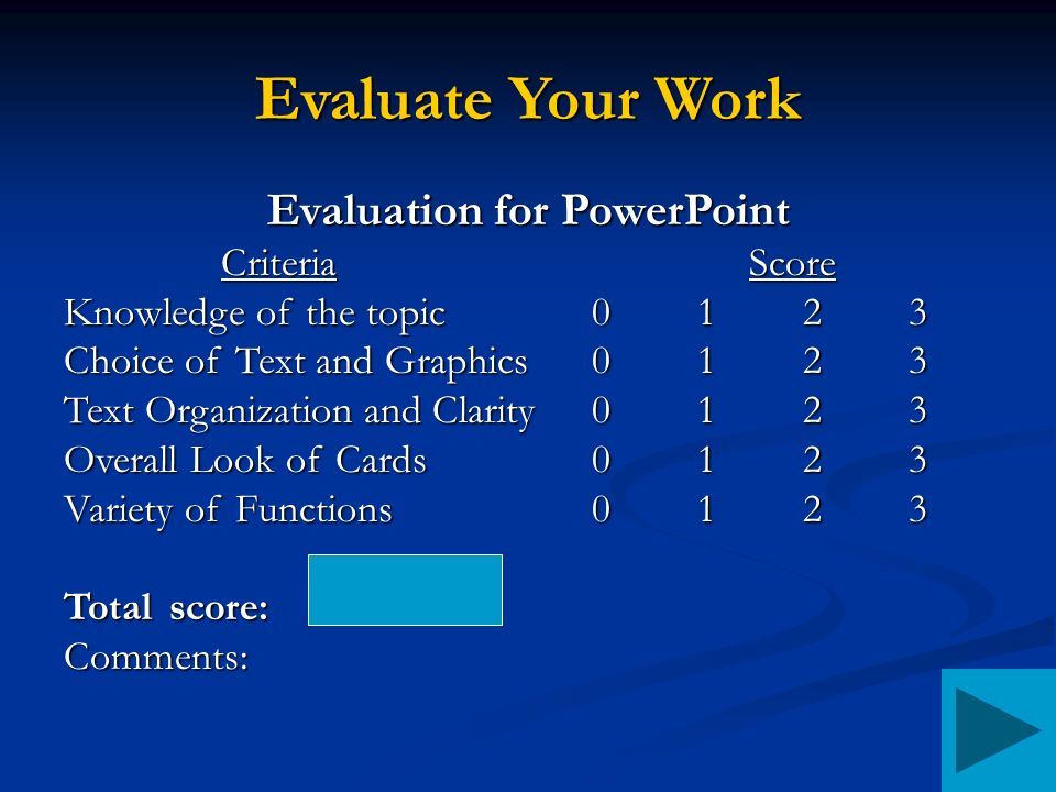 Evaluate Your Work Evaluation for PowerPoint CriteriaScore Knowledge of the topic0123 Choice of Text and Graphics0123 Text Organization and Clarity0123 Overall Look of Cards0123 Variety of Functions0123 Totalscore: Comments: