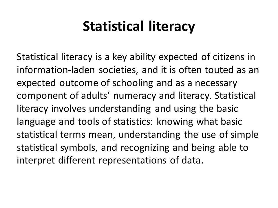 How To Improve Statistical Literacy Anuka Ferligoj Faculty Of