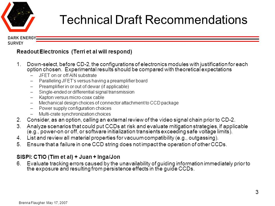 Brenna Flaugher May 17, Technical Draft Recommendations 3 1