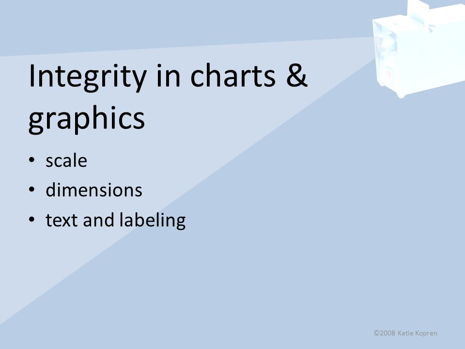 Integrity in charts & graphics scale dimensions text and labeling ©2008 Katie Kopren