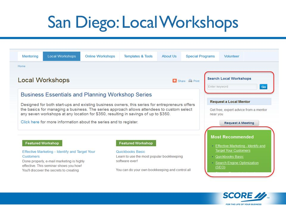 San Diego: Local Workshops