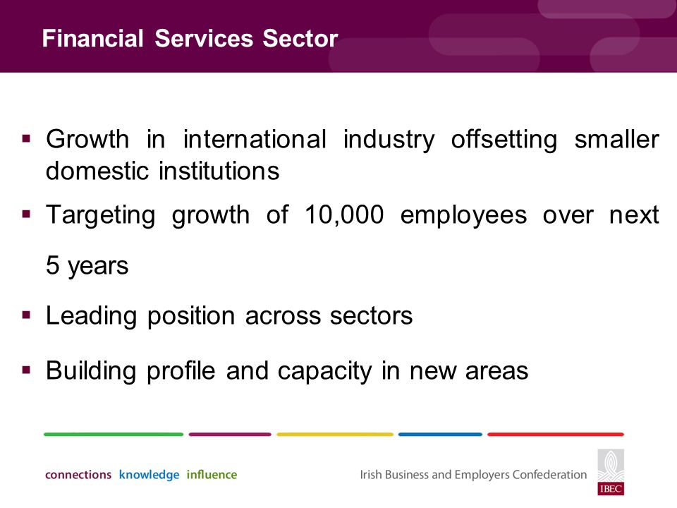 Financial Services Sector  Growth in international industry offsetting smaller domestic institutions  Targeting growth of 10,000 employees over next 5 years  Leading position across sectors  Building profile and capacity in new areas