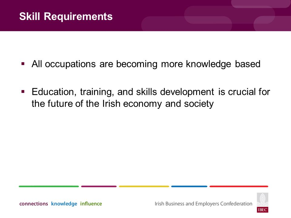 Skill Requirements  All occupations are becoming more knowledge based  Education, training, and skills development is crucial for the future of the Irish economy and society