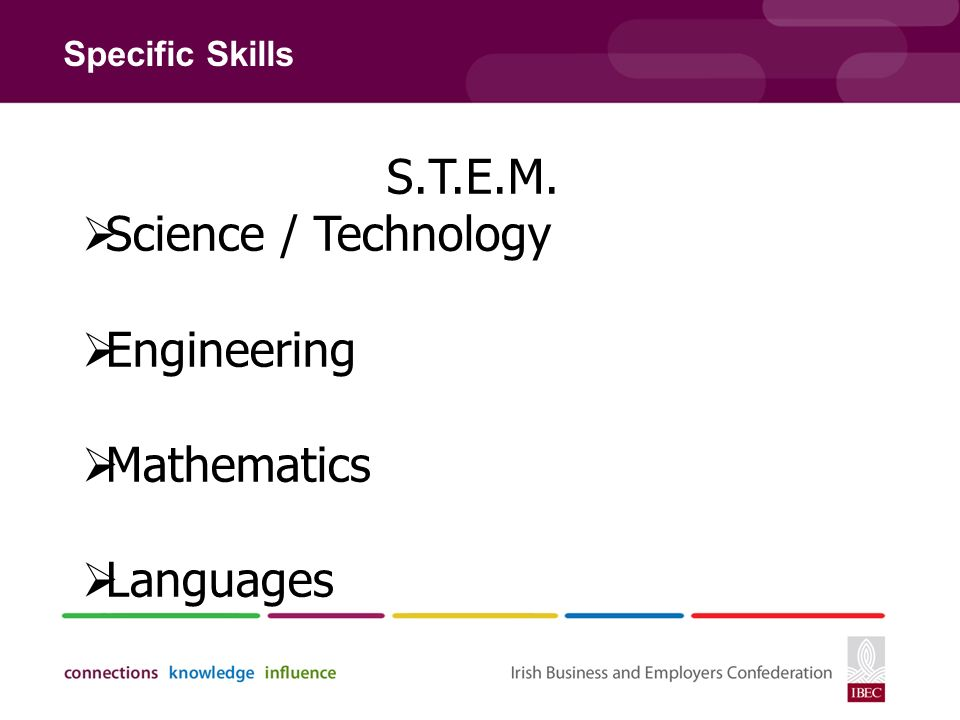 Specific Skills S.T.E.M.  Science / Technology  Engineering  Mathematics  Languages