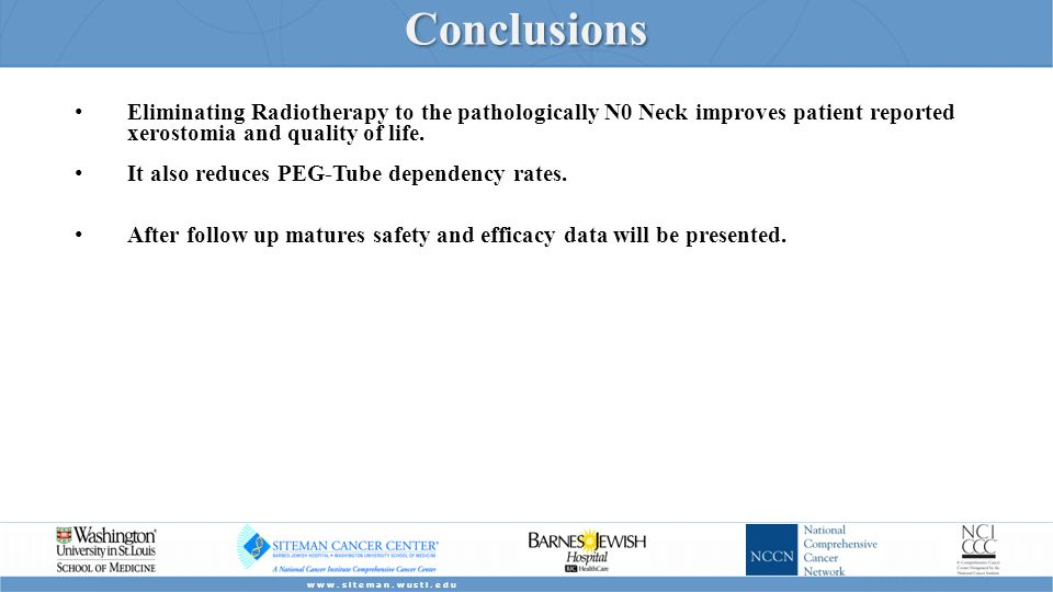 Conclusions Eliminating Radiotherapy to the pathologically N0 Neck improves patient reported xerostomia and quality of life.