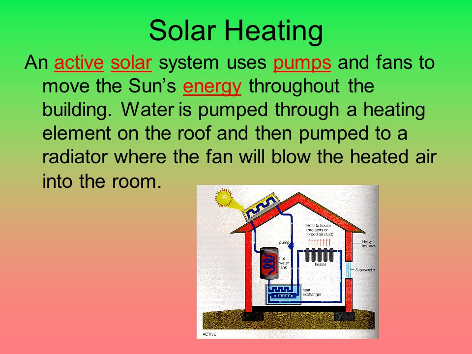 Solar Heating An active solar system uses pumps and fans to move the Sun's energy throughout the building.
