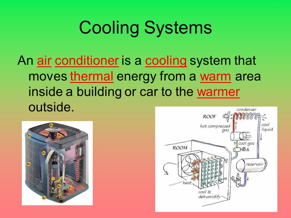 Cooling Systems An air conditioner is a cooling system that moves thermal energy from a warm area inside a building or car to the warmer outside.
