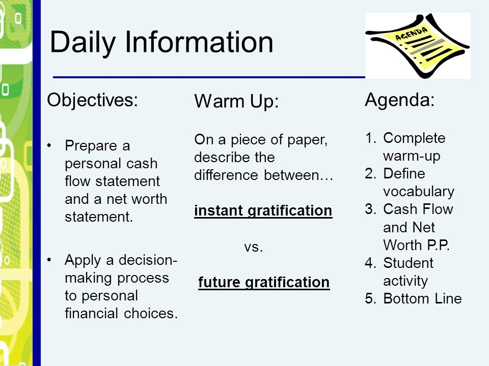 daily information objectives prepare a personal cash flow statement