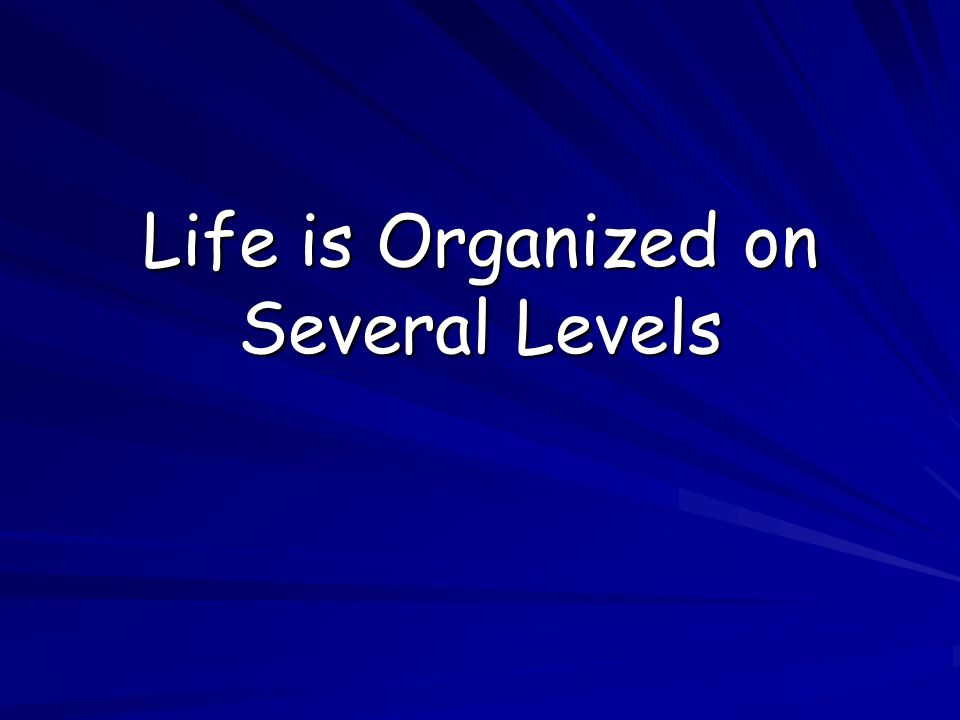 Life is Organized on Several Levels