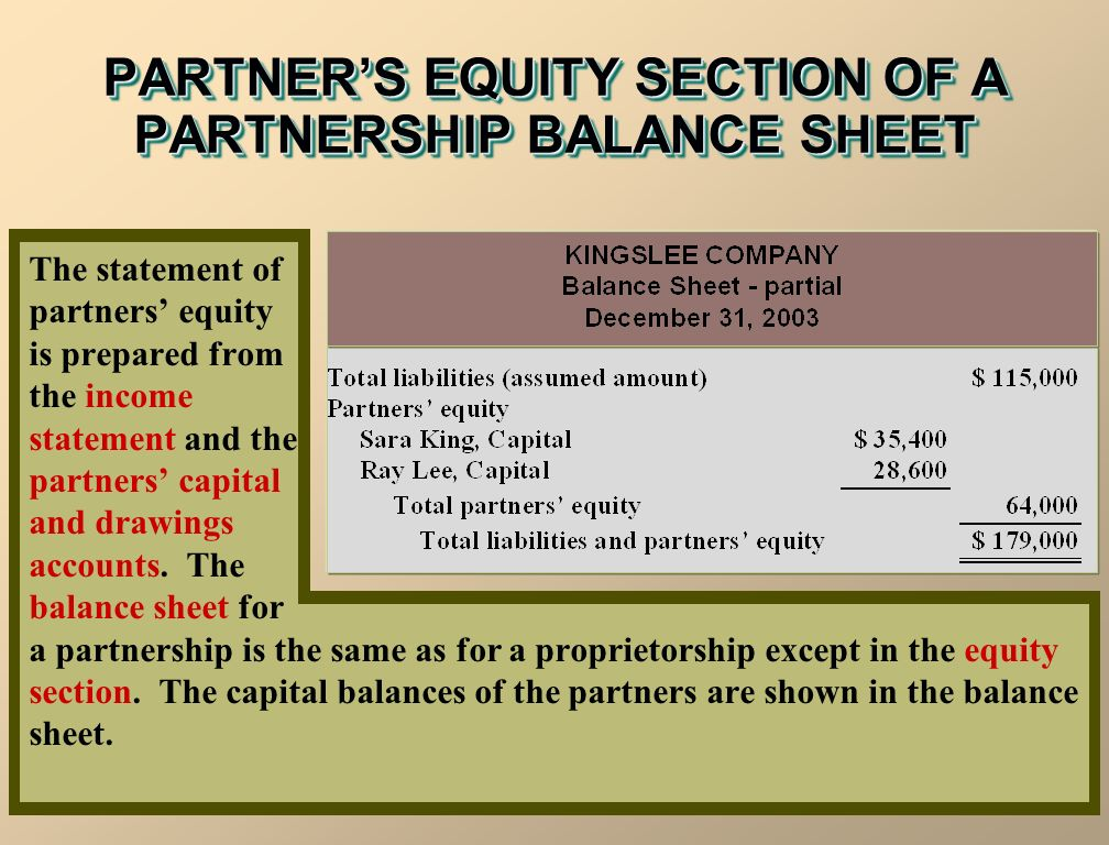 The statement of partners' equity is prepared from the income statement and the partners' capital and drawings accounts.