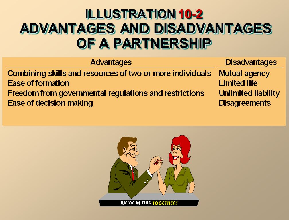 ILLUSTRATION 10-2 ADVANTAGES AND DISADVANTAGES OF A PARTNERSHIP