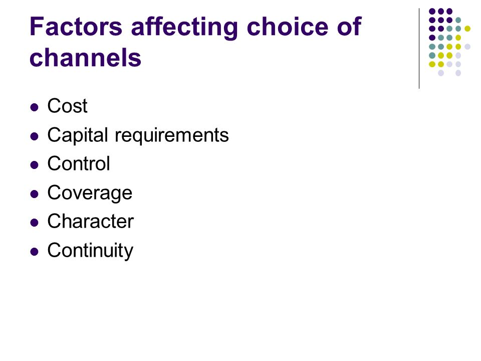 Factors affecting choice of channels Cost Capital requirements Control Coverage Character Continuity