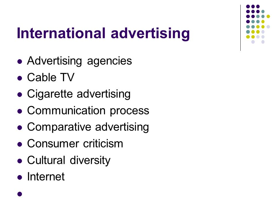 International advertising Advertising agencies Cable TV Cigarette advertising Communication process Comparative advertising Consumer criticism Cultural diversity Internet