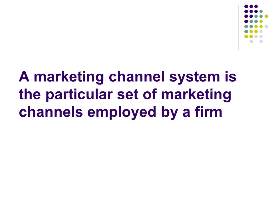 A marketing channel system is the particular set of marketing channels employed by a firm