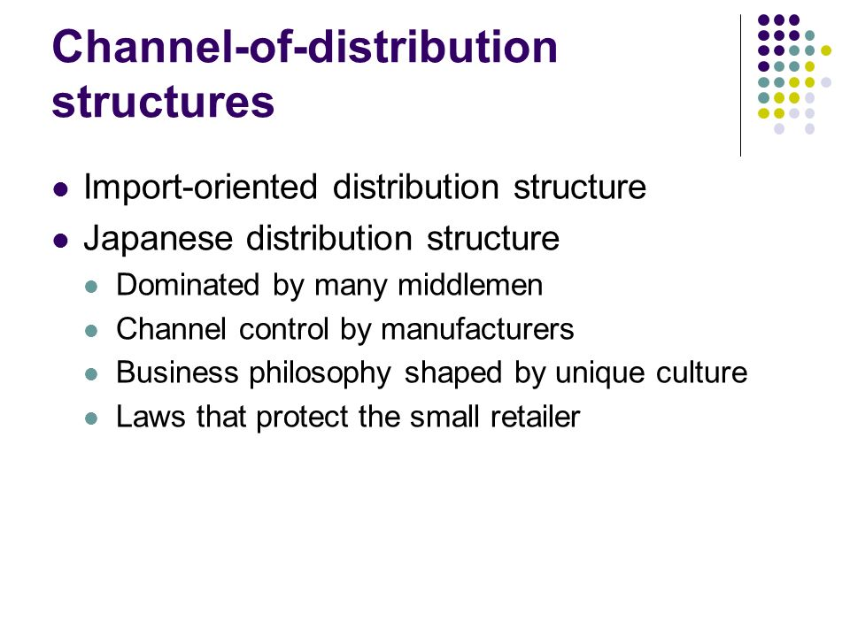Channel-of-distribution structures Import-oriented distribution structure Japanese distribution structure Dominated by many middlemen Channel control by manufacturers Business philosophy shaped by unique culture Laws that protect the small retailer