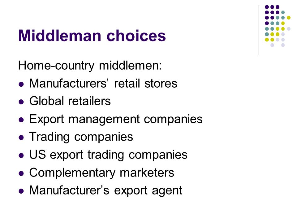 Middleman choices Home-country middlemen: Manufacturers' retail stores Global retailers Export management companies Trading companies US export trading companies Complementary marketers Manufacturer's export agent