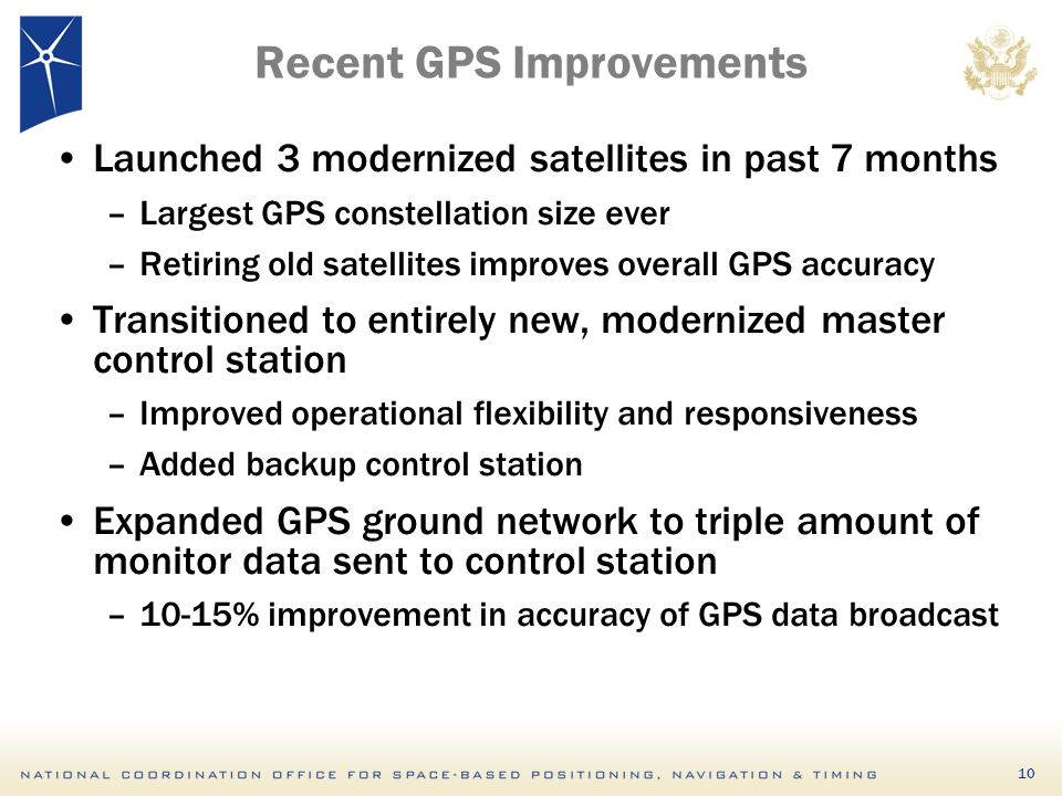 10 Recent GPS Improvements Launched 3 modernized satellites in past 7 months –Largest GPS constellation size ever –Retiring old satellites improves overall GPS accuracy Transitioned to entirely new, modernized master control station –Improved operational flexibility and responsiveness –Added backup control station Expanded GPS ground network to triple amount of monitor data sent to control station –10-15% improvement in accuracy of GPS data broadcast
