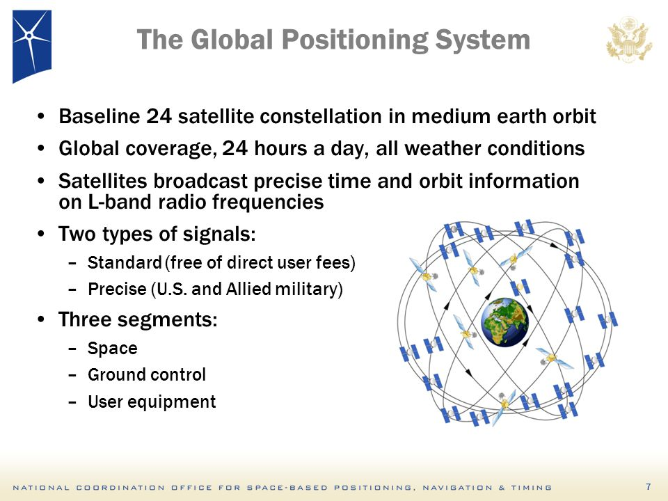 7 The Global Positioning System Baseline 24 satellite constellation in medium earth orbit Global coverage, 24 hours a day, all weather conditions Satellites broadcast precise time and orbit information on L-band radio frequencies Two types of signals: –Standard (free of direct user fees) –Precise (U.S.
