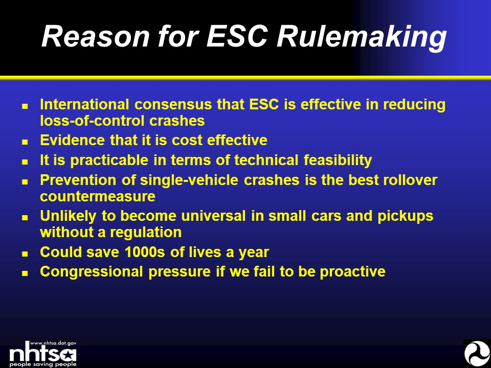 United States Rulemaking on Electronic Stability Control