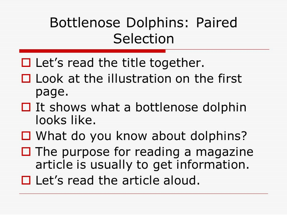 Bottlenose Dolphins: Paired Selection  Let's read the title together.