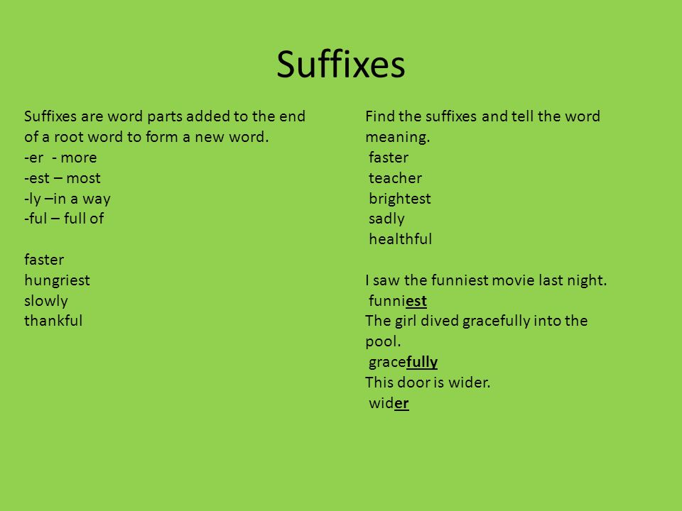 13aa5e7fc85 Suffixes Suffixes are word parts added to the end of a root word to form a