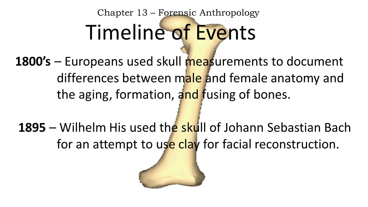 Timeline of Events Chapter 13 – Forensic Anthropology 1800's