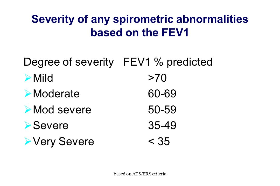 Severity of any spirometric abnormalities based on the FEV1 Degree of severityFEV1 % predicted  Mild>70  Moderate60-69  Mod severe50-59  Severe35-49  Very Severe< 35 based on ATS/ERS criteria