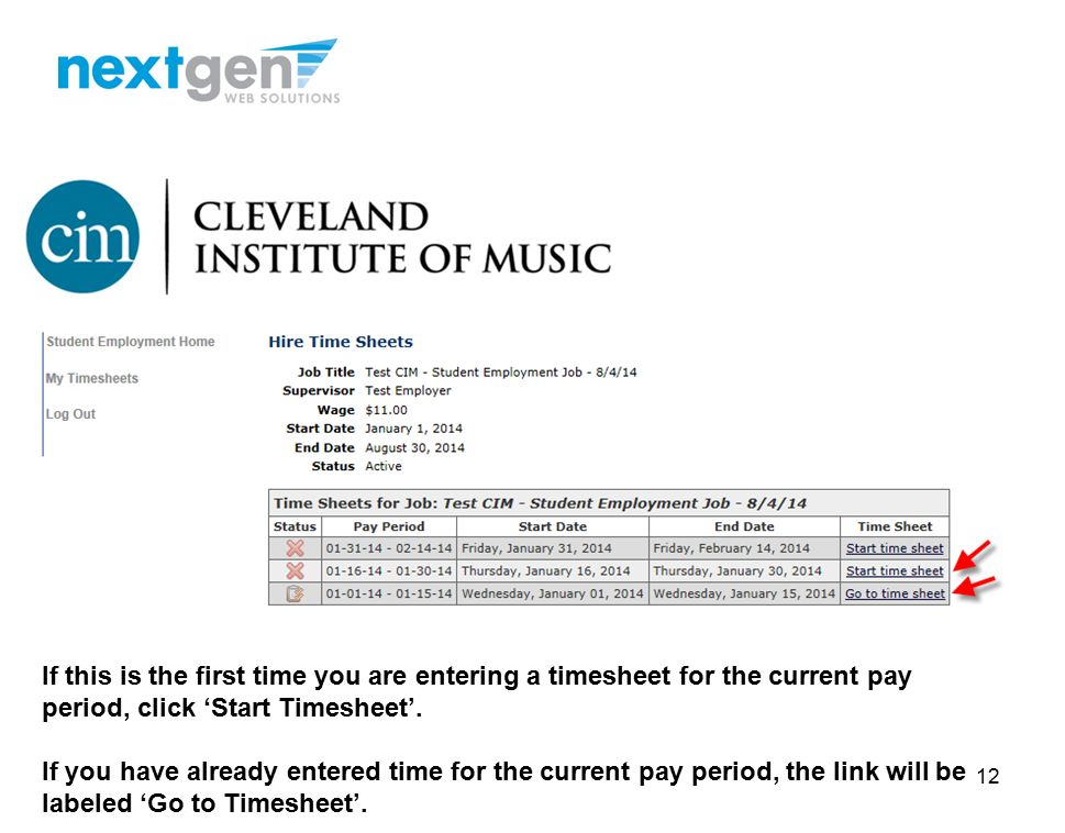 cim student employment cim student training for timesheetx ppt download