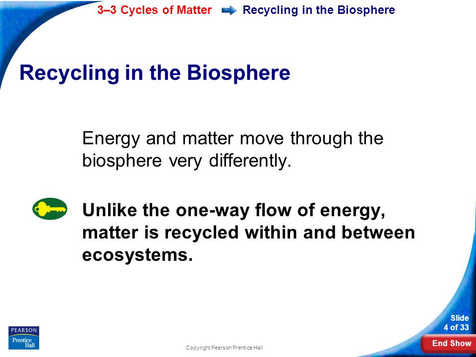End Show 3–3 Cycles of Matter Slide 4 of 33 Copyright Pearson Prentice Hall Recycling in the Biosphere Energy and matter move through the biosphere very differently.