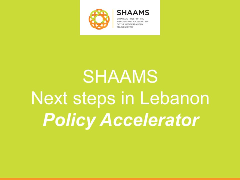 SHAAMS Next steps in Lebanon Policy Accelerator