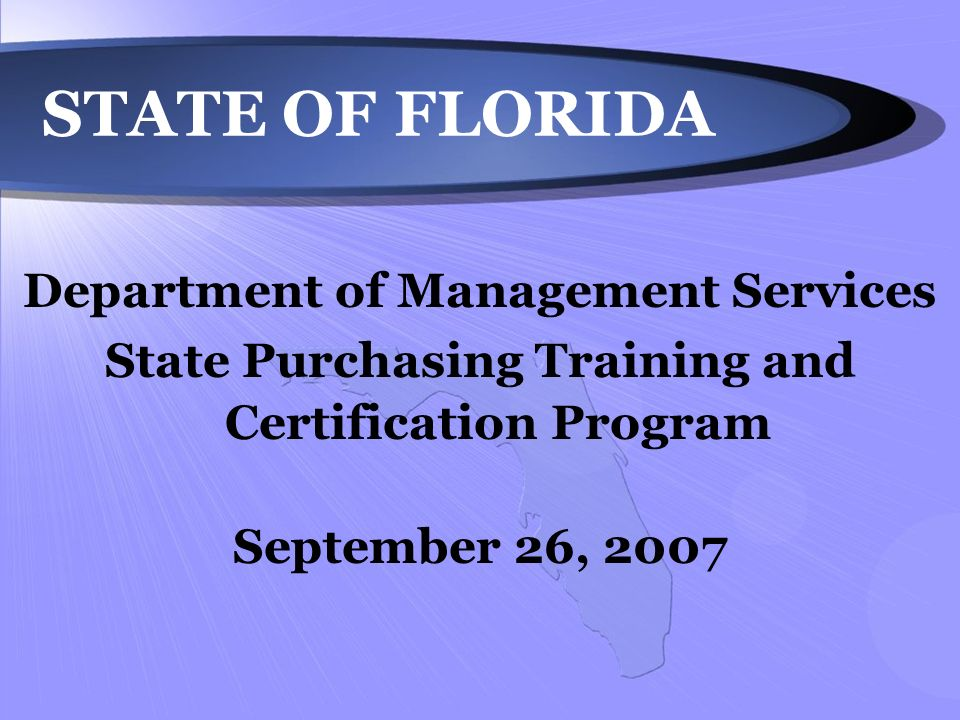 State Of Florida Department Of Management Services State Purchasing