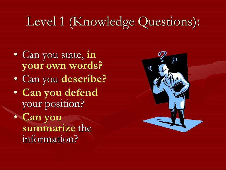 Level 1 (Knowledge Questions): Can you state,Can you state, in your own words.