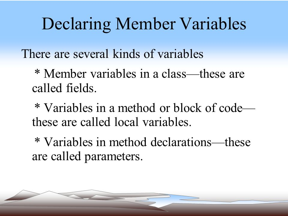 Declaring Member Variables There are several kinds of variables * Member variables in a class—these are called fields.