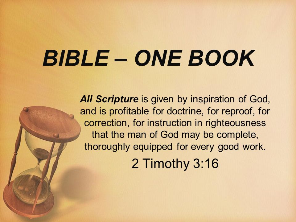 Bible One Book All Scripture Is Given By Inspiration Of God And