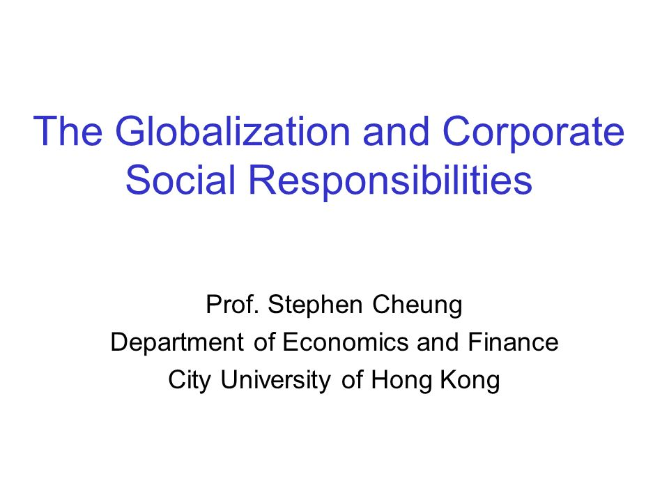 globalization and corporate social responsibility