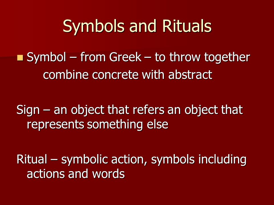 Sacraments Signs And Symbols Symbols And Rituals Symbol From