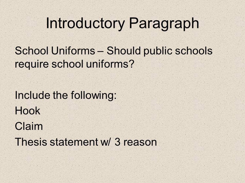 Introductory Paragraph School Uniforms – Should public schools require school uniforms.
