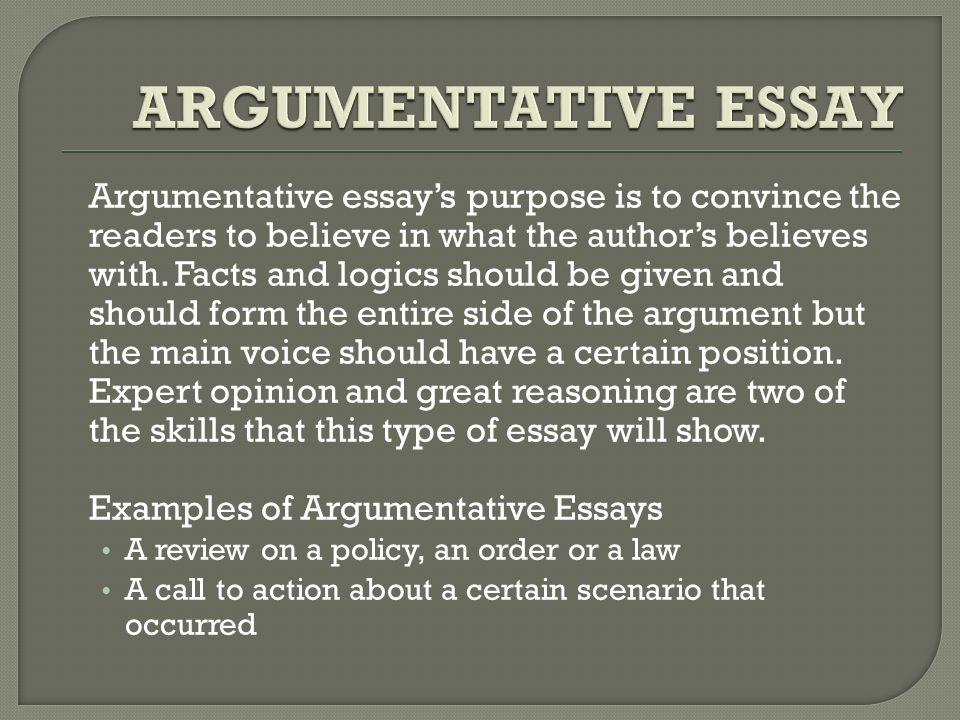types of argumentative essays