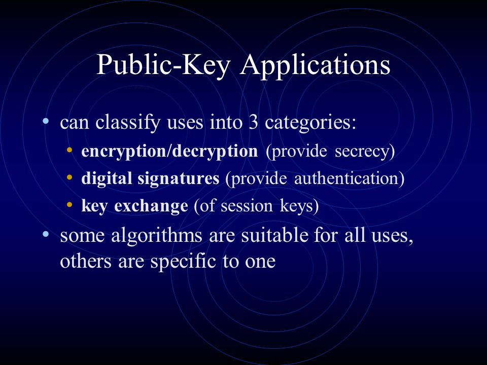 Public-Key Applications can classify uses into 3 categories: encryption/decryption (provide secrecy) digital signatures (provide authentication) key exchange (of session keys) some algorithms are suitable for all uses, others are specific to one