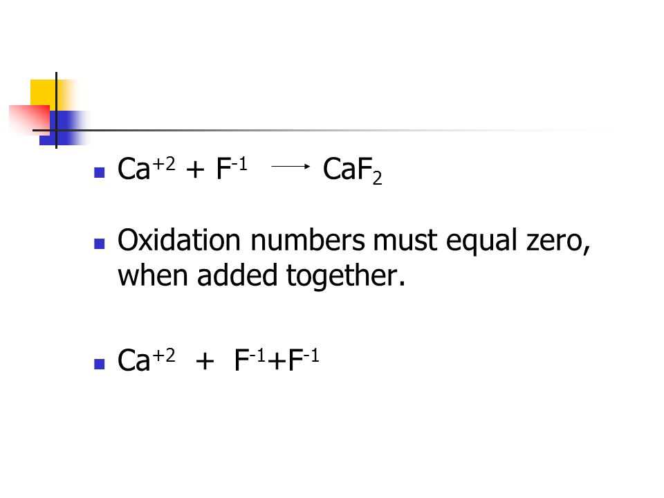 Ca +2 + F -1 CaF 2 Oxidation numbers must equal zero, when added together. Ca +2 + F -1 +F -1