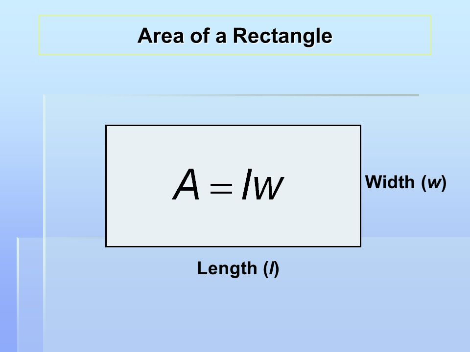 Length (l) Width (w) Area of a Rectangle