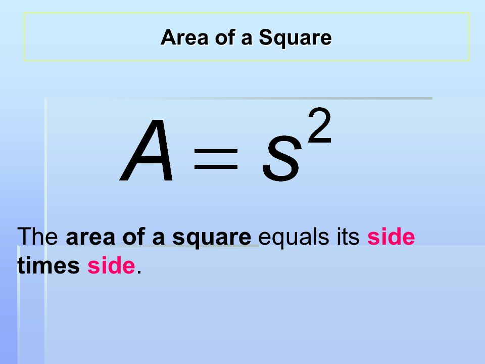 The area of a square equals its side times side. Area of a Square