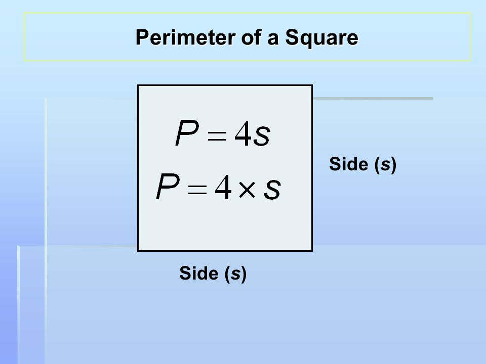Side (s) Perimeter of a Square