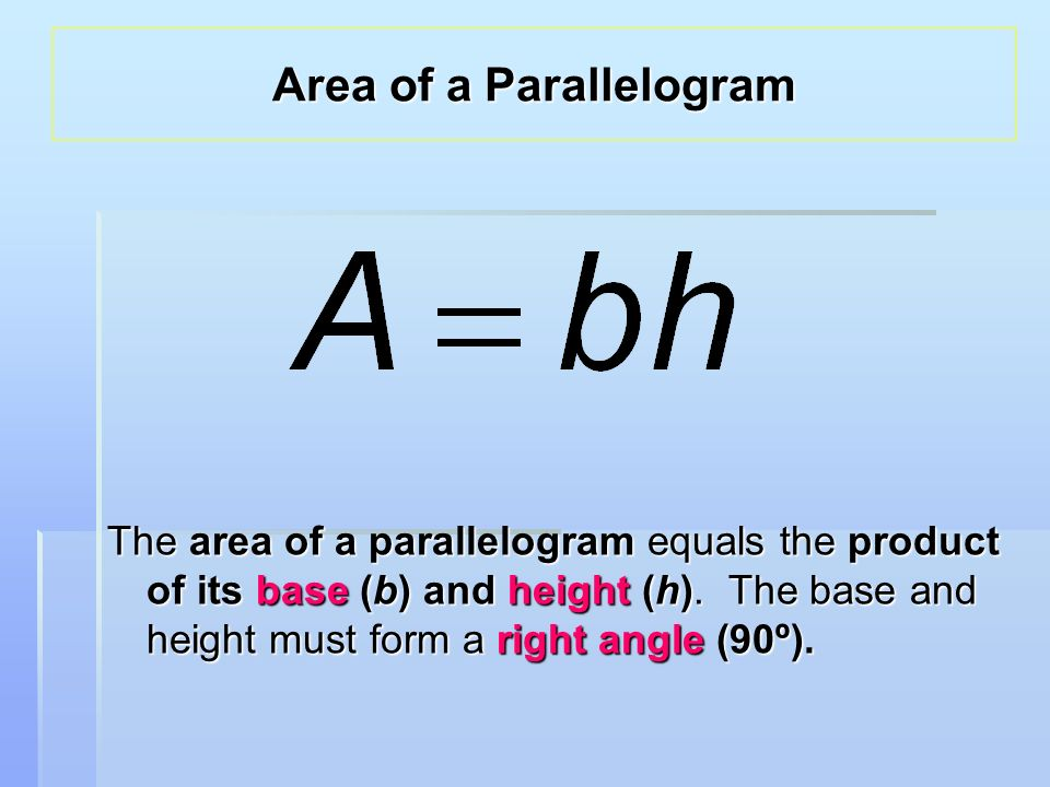 The area of a parallelogram equals the product of its base (b) and height (h).
