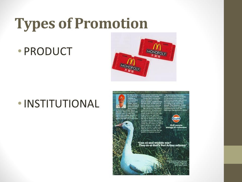 Types of Promotion PRODUCT INSTITUTIONAL