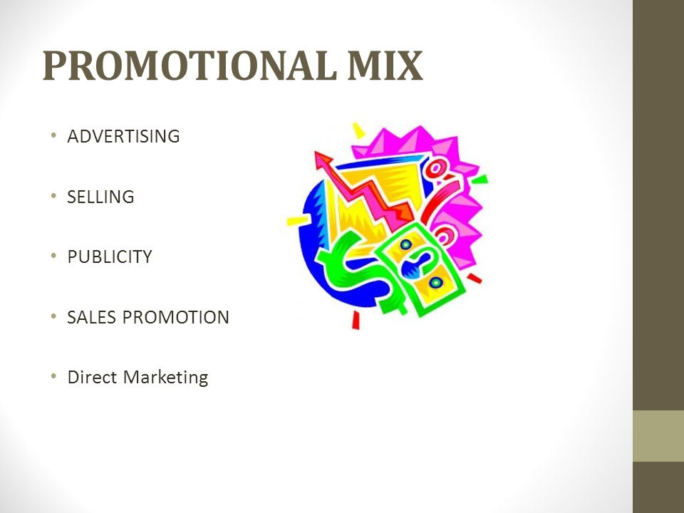 PROMOTIONAL MIX ADVERTISING SELLING PUBLICITY SALES PROMOTION Direct Marketing