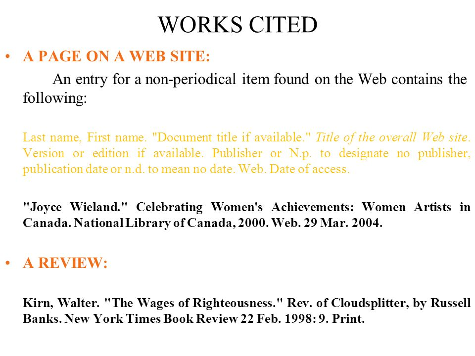 Lecture 26 referencing contd harvard referencing referencing a works cited a page on a web site an entry for a non periodical ccuart Images