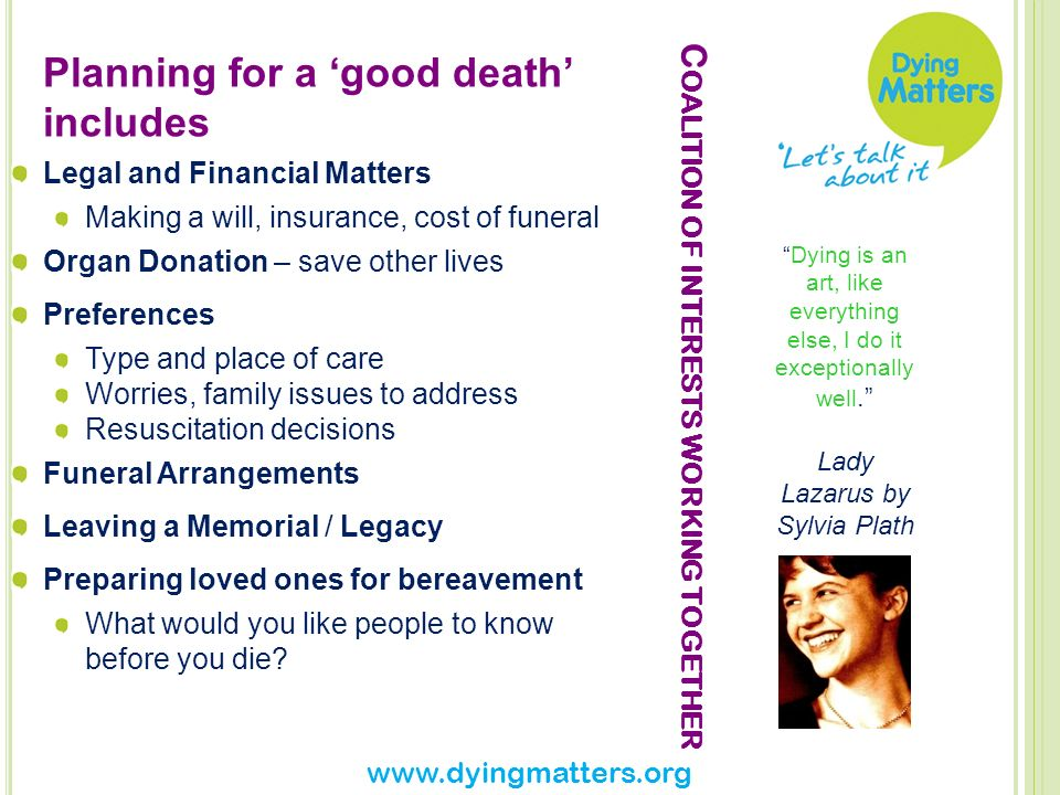 Changing Expectations of Death What should we want from the