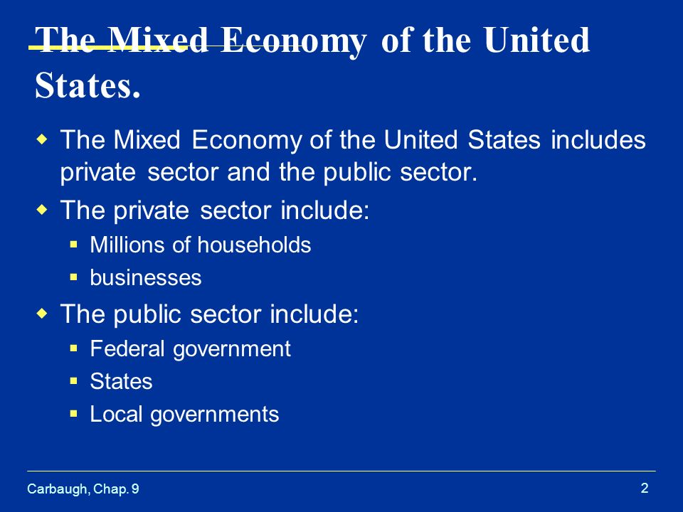 Carbaugh, Chap. 9 2 The Mixed Economy of the United States.