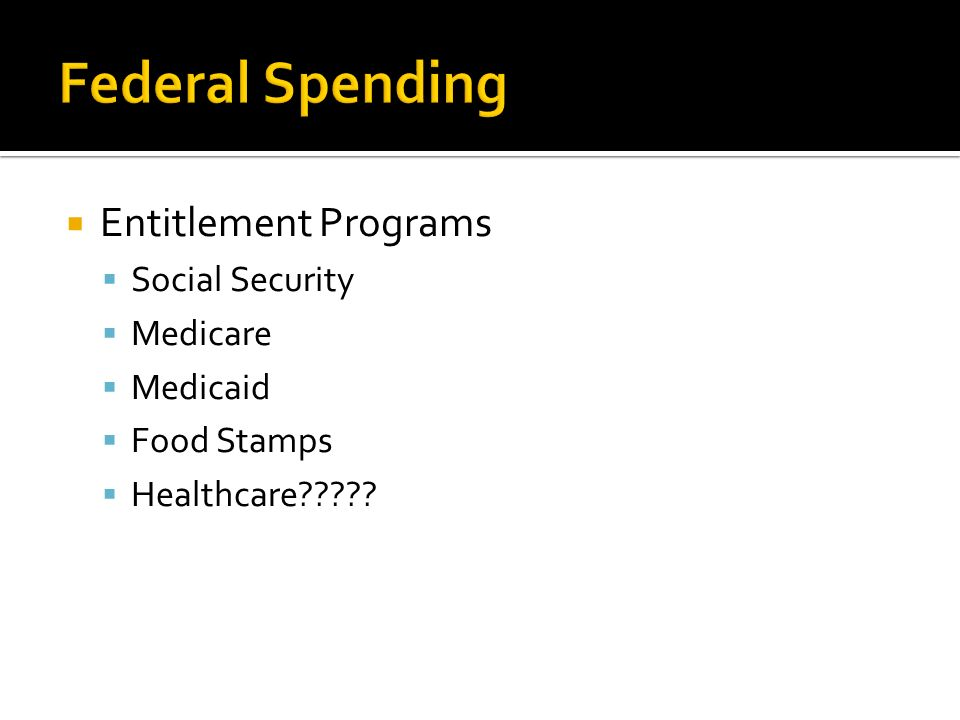  Entitlement Programs  Social Security  Medicare  Medicaid  Food Stamps  Healthcare